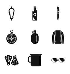 tourism icons set simple style vector image