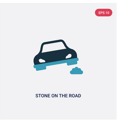 Two color stone on road icon from insurance vector
