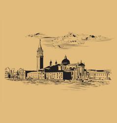 Venice panorama hand drawing vector