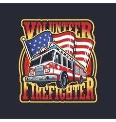 Vintage firefighter emblem vector image
