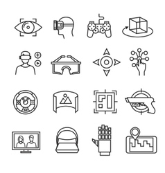 Virtual reality thin line icons equipment 3D vector