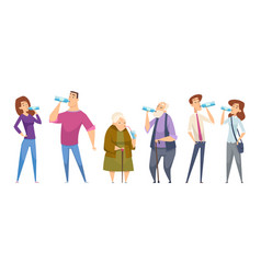 water drinking people with water glasses drinking vector image