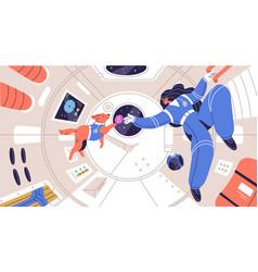 weightless cosmonaut floating with dog vector image