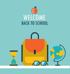 welcome back to school background backpack globe vector image