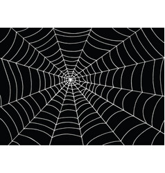 White spider web on black background doodle vector