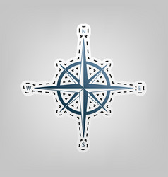 wind rose sign blue icon with outline vector image