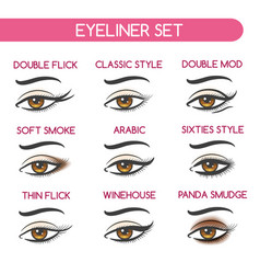 Woman eyes makeup set vector