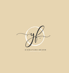 Y f yf initial letter handwriting and signature vector