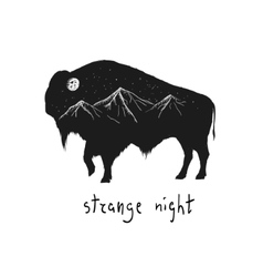 Abstract silhouette of bison vector image vector image