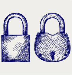 Closed locks security icon vector image vector image