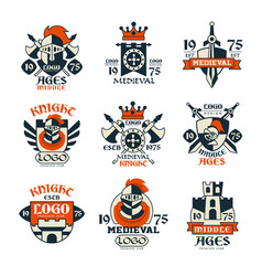 medieval logo design set middle ages vintage vector image