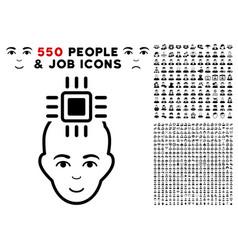 neuro interface icon with bonus vector image