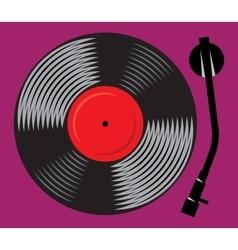 symbolic gramophone with vinyl record retro DJ vector image