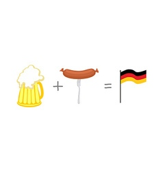 Symbols of Germany Beer and sausages Mathematical vector image