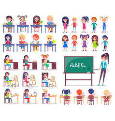 isolated students sitting at desks and teacher vector image