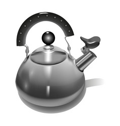 metal teapot realistic style vector image