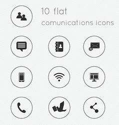 Modern flat icons collection of communications vector image vector image