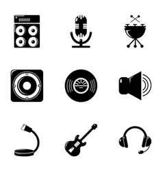 music equalizer icons set simple style vector image vector image