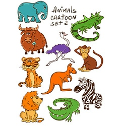 Set Of Cartoon Wild Animals vector image vector image