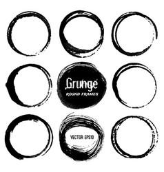 set of round grunge frames vector image vector image