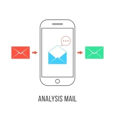 Analysis mail with colored letters and smartphone vector