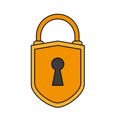 Color image cartoon padlock with shield body and vector