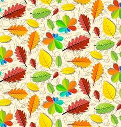 Colorful Seamless Leaves Pattern with Hand Drawn vector image vector image