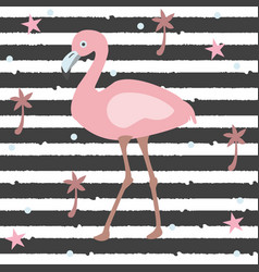 creative summer pattern with exotic bird flamingo vector image