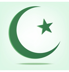 green star and crescent vector image
