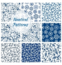 Nautical helm and anchor seamless pattern set vector image