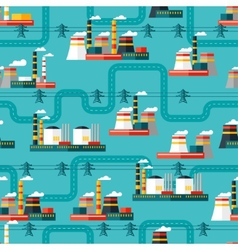 Seamless pattern of industrial power plants in vector image vector image