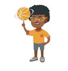 african boy spinning basketball ball on finger vector image
