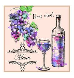 card menu with sketch grapes wine vector image