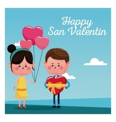 happy san valentine card girl branch balloons and vector image vector image