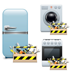 Household Appliance Repair Icons vector image vector image