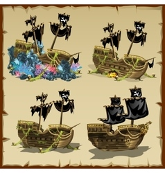 Pirate ship at different stages of desolation vector image vector image