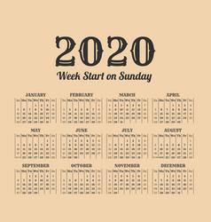 2020 year vintage calendar weeks start on sunday vector image