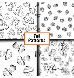 4 black and white patterns vector image