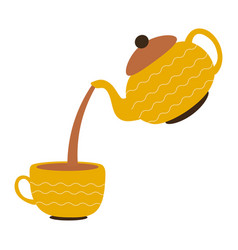A cup with yellow teapot on white background vector