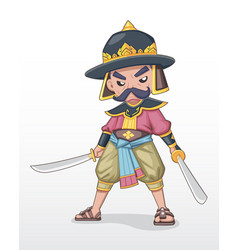 Ancient thai warlord standing with dual sword vector