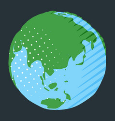 asia and australia on globe with green land and vector image