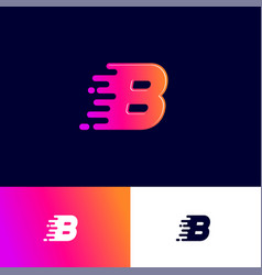 b letter winds movement dynamic logo velocity deli vector image