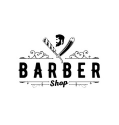barber shop vintage logo with gentleman face vector image