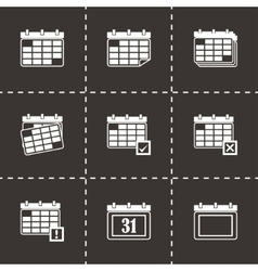 black calendar icon set vector image