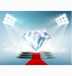 Blue diamond on the podium with a red carpet vector