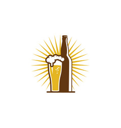 bottle beer logo icon design vector image