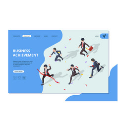 business landing running business characters vector image