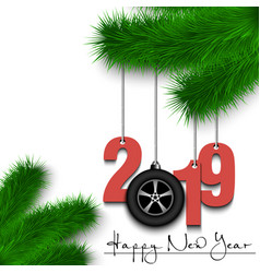 Car wheell and 2019 on a christmas tree branch vector