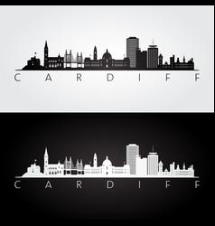 cardiff skyline and landmarks silhouette vector image