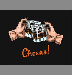 Cheers toast on a black background a glass of vector